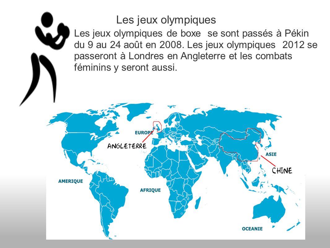 Les jeux olympiques Les jeux olympiques de boxe se sont passés à Pékin du 9 au 24 août en 2008.