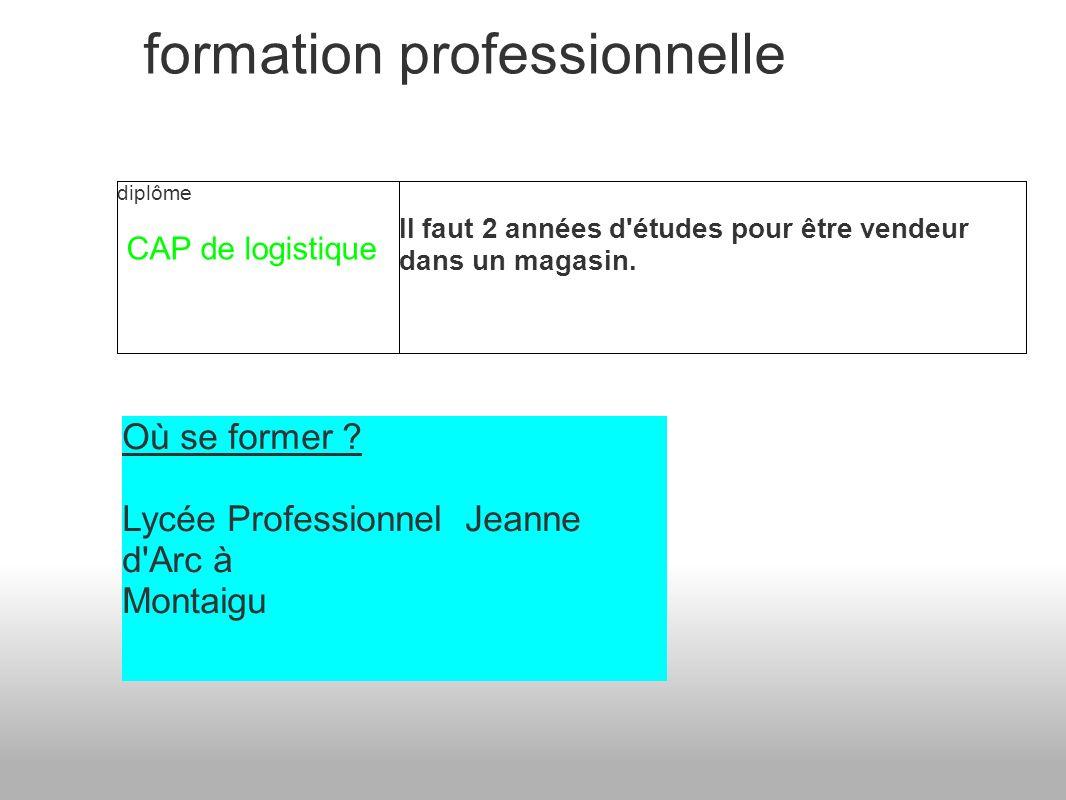formation professionnelle diplôme CAP de logistique Il faut 2 années d études pour être vendeur dans un magasin.