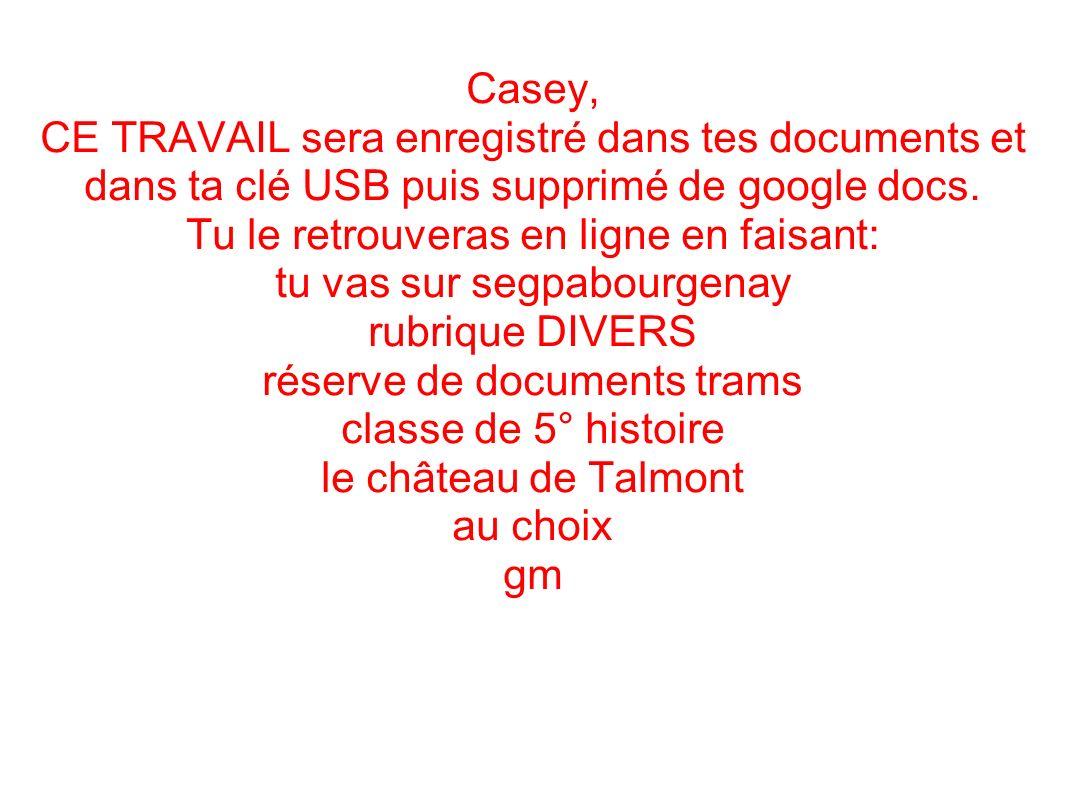 Casey, CE TRAVAIL sera enregistré dans tes documents et dans ta clé USB puis supprimé de google docs. Tu le retrouveras en ligne en faisant: tu vas su