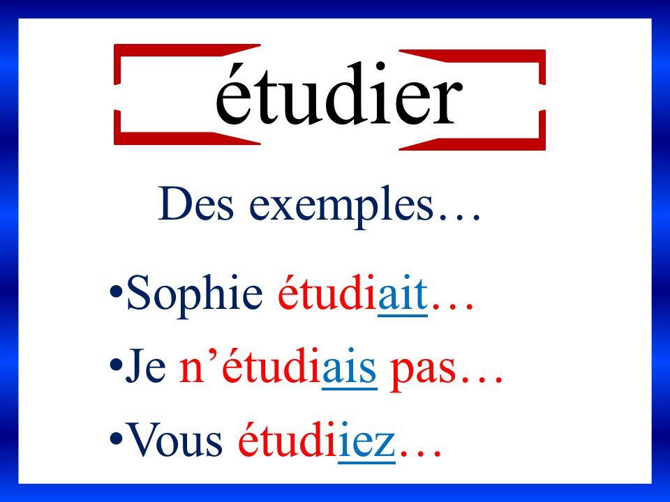 étudier Des exemples… Sophie étudiait… Je nétudiais pas… Vous étudiiez…