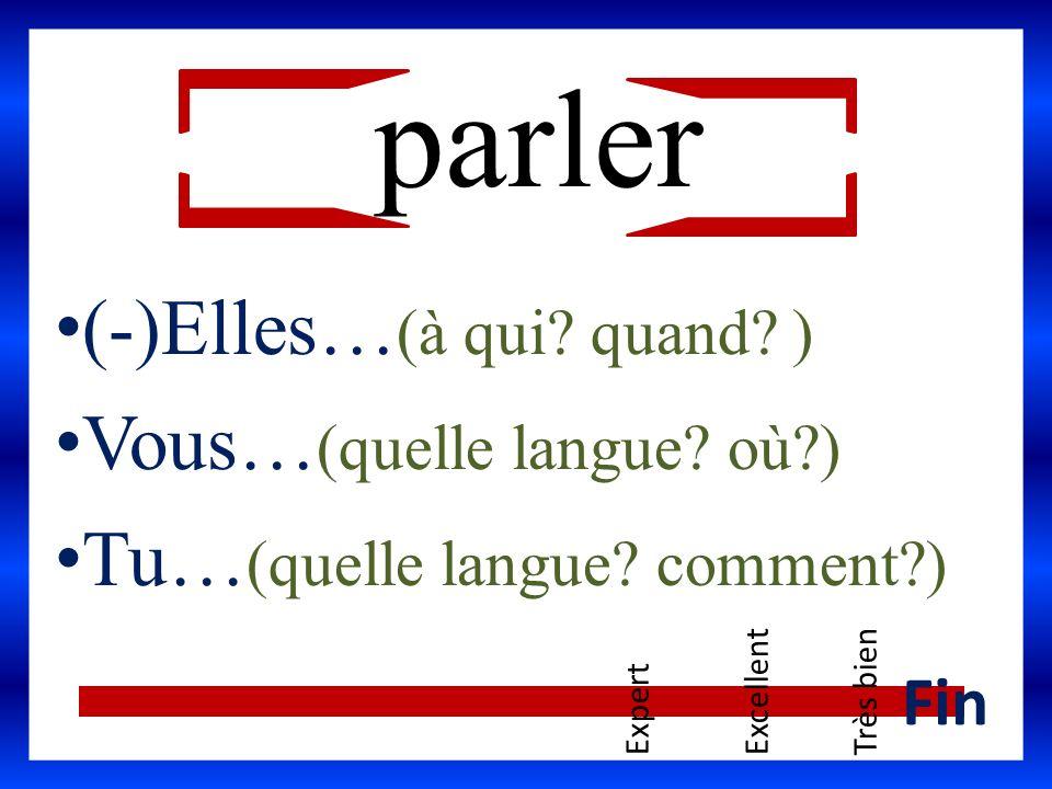 parler (-)Elles… (à qui? quand? ) Vous… (quelle langue? où?) Tu… (quelle langue? comment?) ExpertExcellentTrès bien Fin