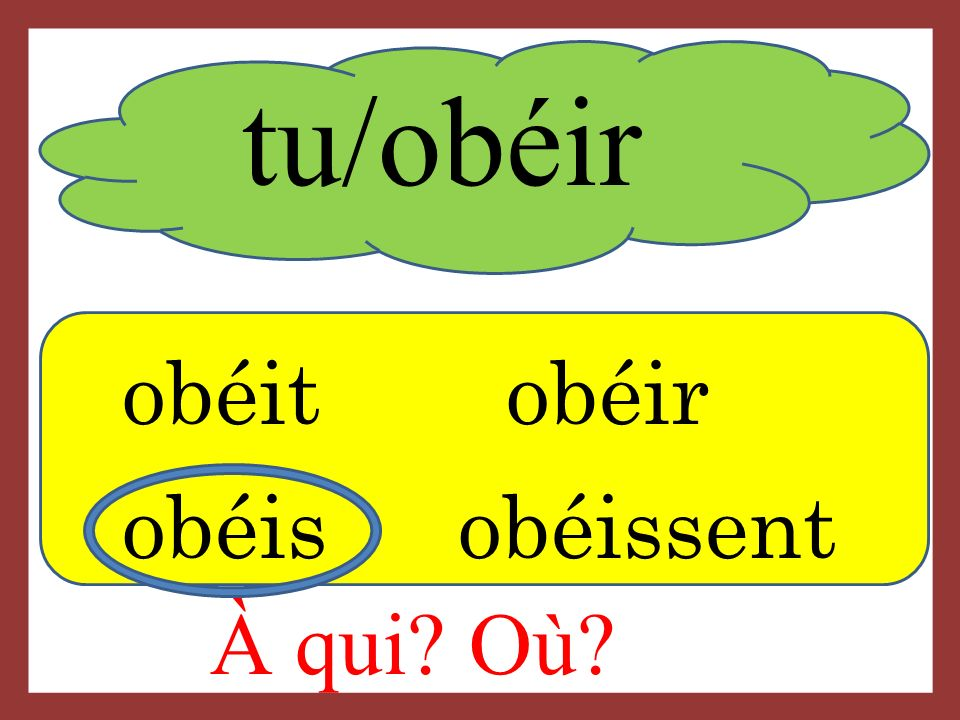 tu/obéir obéitobéir obéis obéissent À qui? Où?