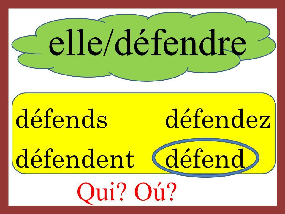 elle/défendre Qui? Oú? défends défendez défendent défend
