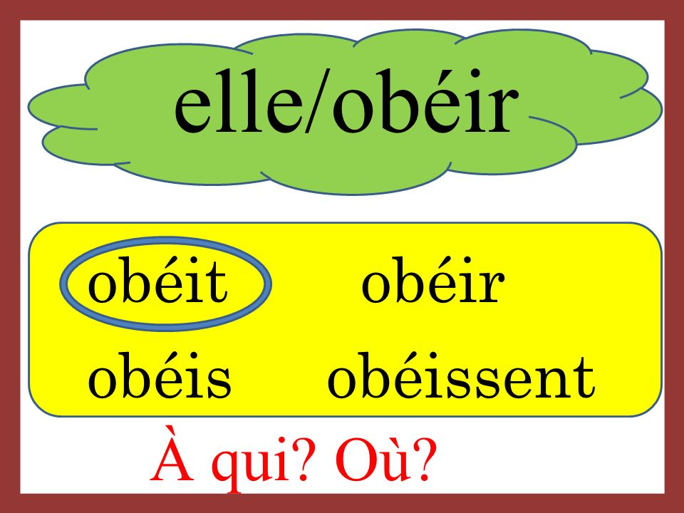 elle/obéir obéitobéir obéis obéissent À qui? Où?