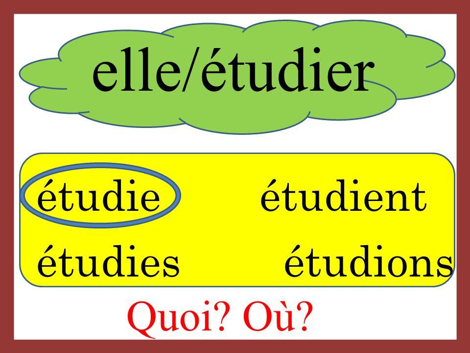 elle/étudier Quoi Où étudie étudient étudies étudions