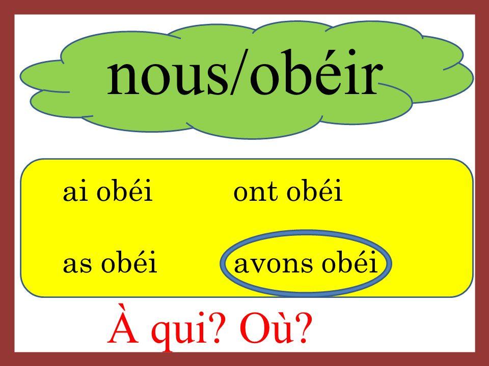 nous/obéir ai obéiont obéi as obéi avons obéi À qui Où