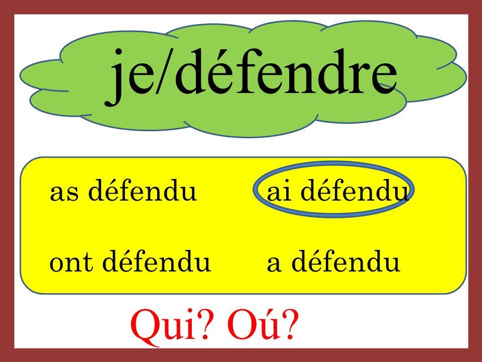 je/défendre Qui Oú as défenduai défendu ont défendu a défendu