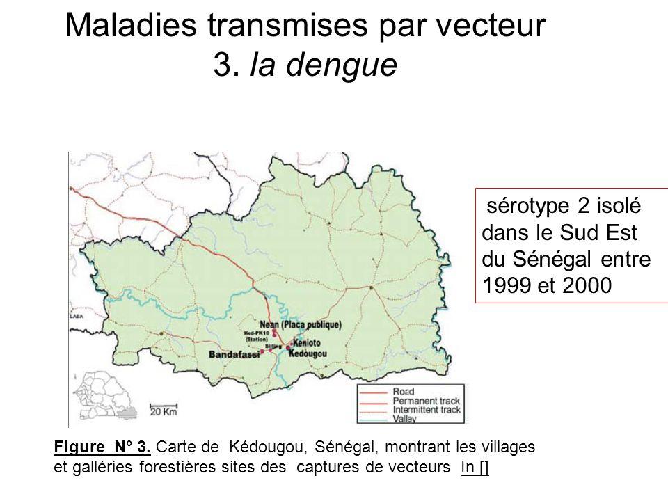 Figure N° 3. Carte de Kédougou, Sénégal, montrant les villages et galléries forestières sites des captures de vecteurs In [] sérotype 2 isolé dans le