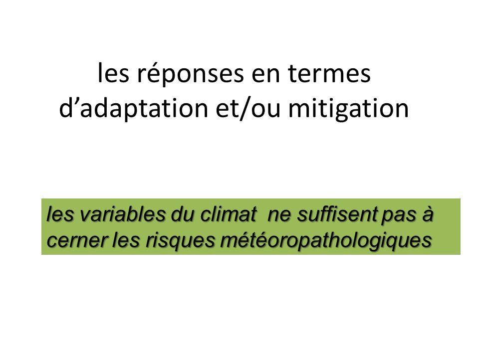 les réponses en termes dadaptation et/ou mitigation les variables du climat ne suffisent pas à cerner les risques météoropathologiques