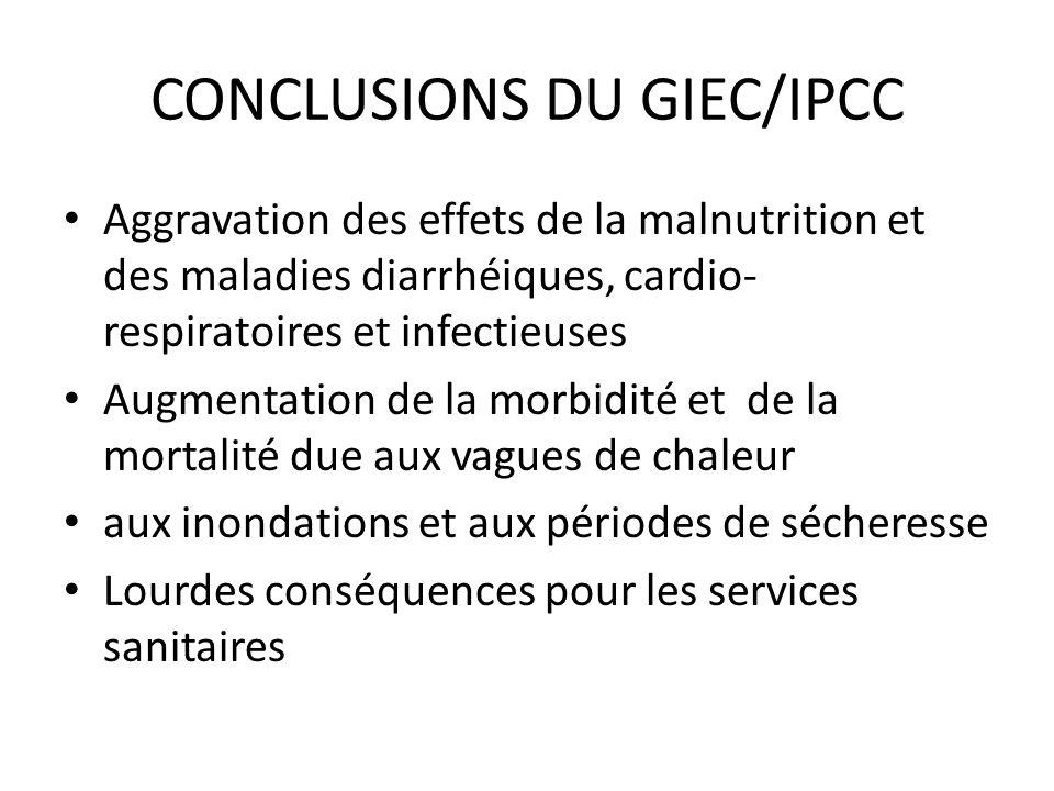 CONCLUSIONS DU GIEC/IPCC Aggravation des effets de la malnutrition et des maladies diarrhéiques, cardio- respiratoires et infectieuses Augmentation de