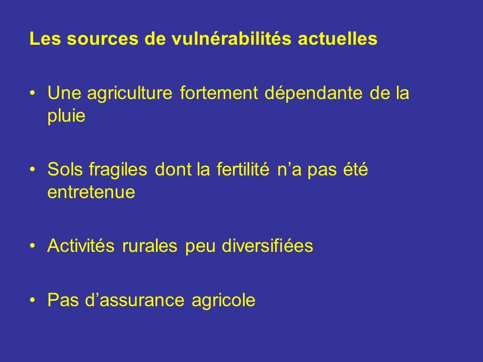Les sources de vulnérabilités actuelles Une agriculture fortement dépendante de la pluie Sols fragiles dont la fertilité na pas été entretenue Activit