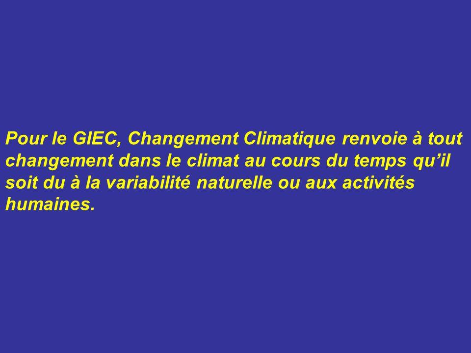 Pour le GIEC, Changement Climatique renvoie à tout changement dans le climat au cours du temps quil soit du à la variabilité naturelle ou aux activité