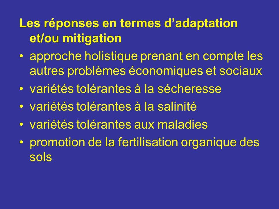 Les réponses en termes dadaptation et/ou mitigation approche holistique prenant en compte les autres problèmes économiques et sociaux variétés toléran