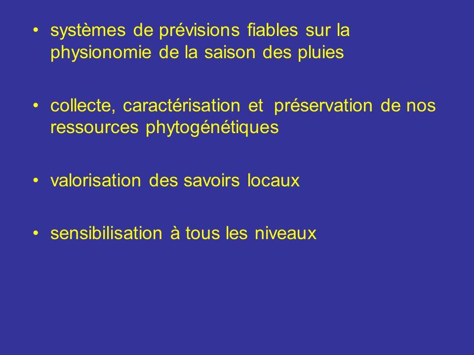 systèmes de prévisions fiables sur la physionomie de la saison des pluies collecte, caractérisation et préservation de nos ressources phytogénétiques