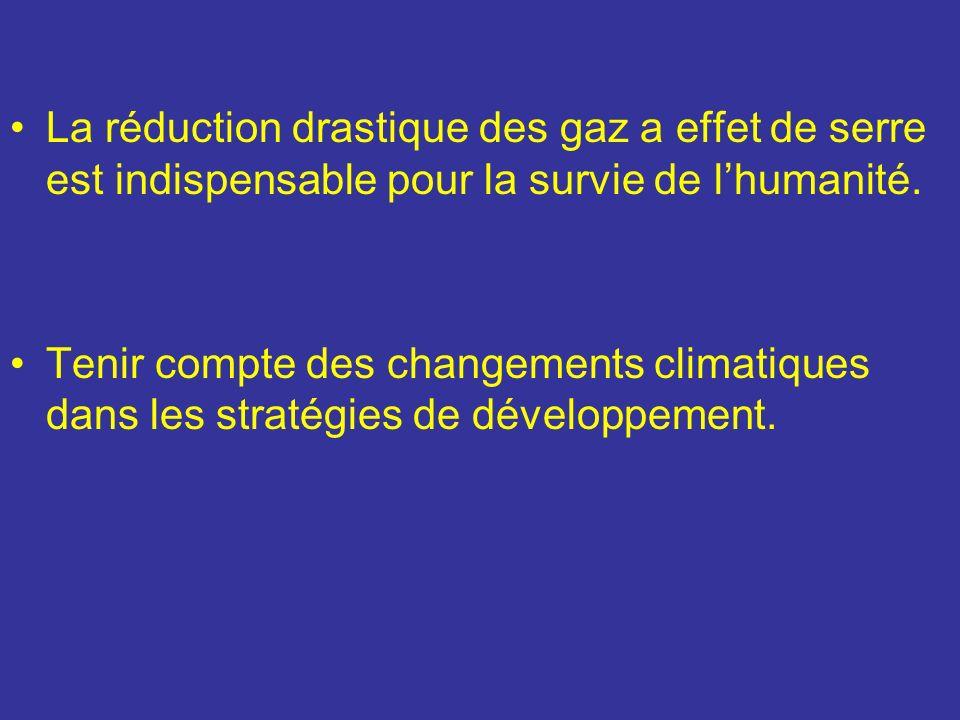 La réduction drastique des gaz a effet de serre est indispensable pour la survie de lhumanité. Tenir compte des changements climatiques dans les strat