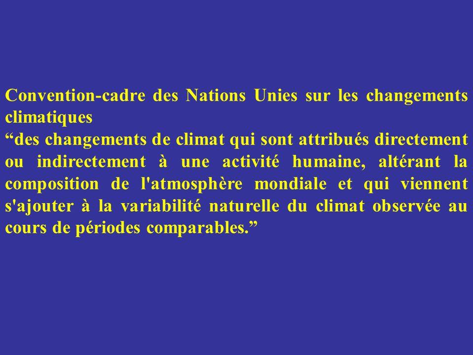 Convention-cadre des Nations Unies sur les changements climatiques des changements de climat qui sont attribués directement ou indirectement à une act