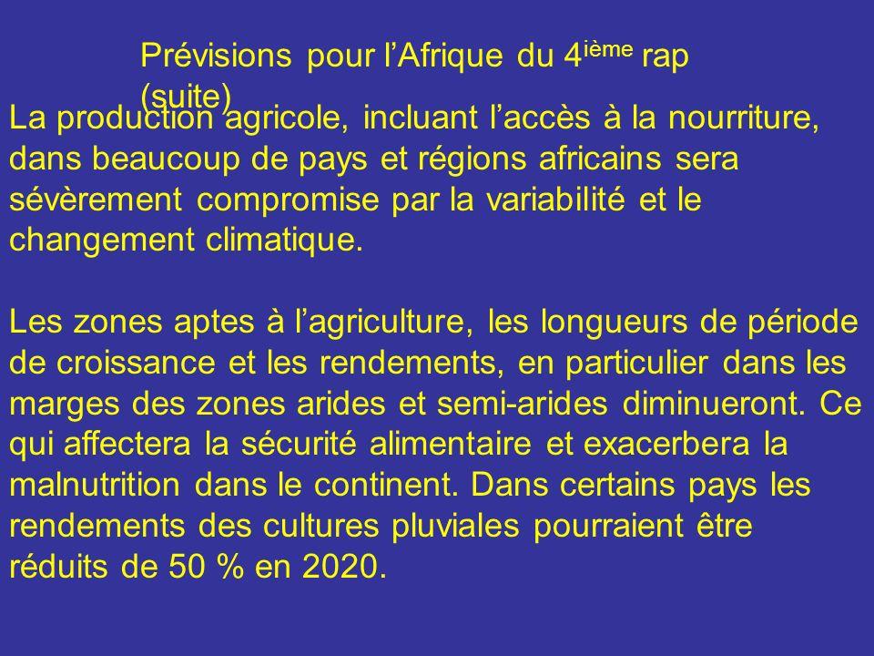 La production agricole, incluant laccès à la nourriture, dans beaucoup de pays et régions africains sera sévèrement compromise par la variabilité et l