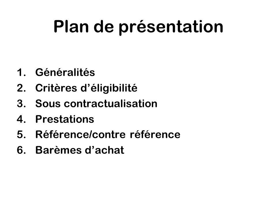 Plan de présentation 1.Généralités 2.Critères déligibilité 3.Sous contractualisation 4.Prestations 5.Référence/contre référence 6.Barèmes dachat