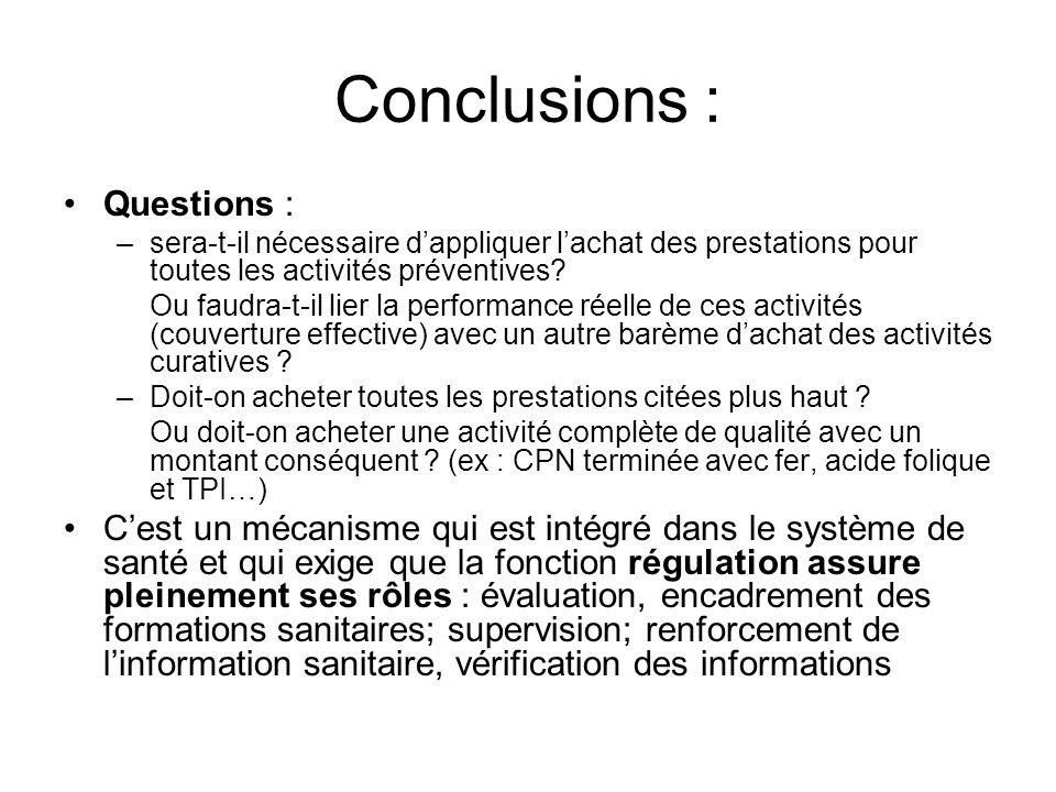 Conclusions : Questions : –sera-t-il nécessaire dappliquer lachat des prestations pour toutes les activités préventives? Ou faudra-t-il lier la perfor
