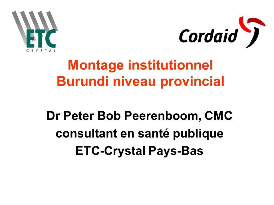Montage institutionnel Burundi niveau provincial Dr Peter Bob Peerenboom, CMC consultant en santé publique ETC-Crystal Pays-Bas