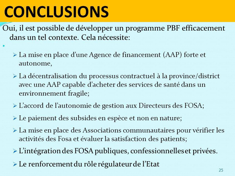 CONCLUSIONS Oui, il est possible de développer un programme PBF efficacement dans un tel contexte. Cela nécessite: La mise en place dune Agence de fin