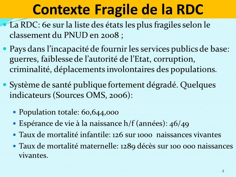 Contexte Fragile de la RDC 4 La RDC: 6e sur la liste des états les plus fragiles selon le classement du PNUD en 2008 ; Pays dans lincapacité de fournir les services publics de base: guerres, faiblesse de lautorité de lEtat, corruption, criminalité, déplacements involontaires des populations.