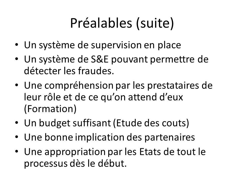Préalables (suite) Un système de supervision en place Un système de S&E pouvant permettre de détecter les fraudes. Une compréhension par les prestatai