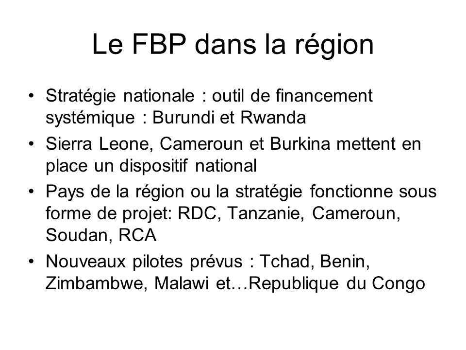 Le FBP dans la région Stratégie nationale : outil de financement systémique : Burundi et Rwanda Sierra Leone, Cameroun et Burkina mettent en place un