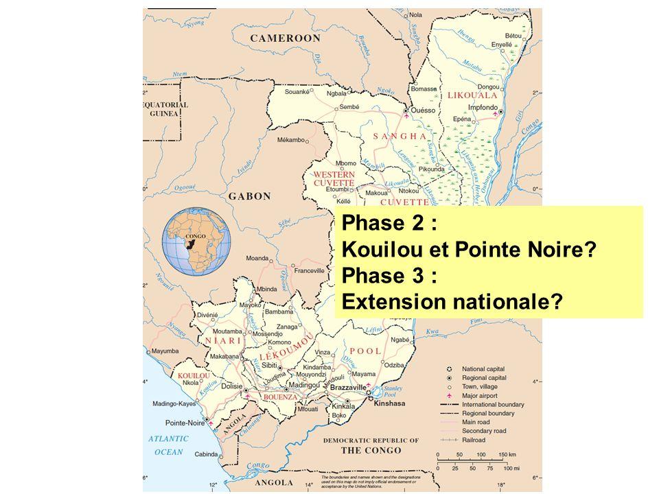 Phase 2 : Kouilou et Pointe Noire? Phase 3 : Extension nationale?