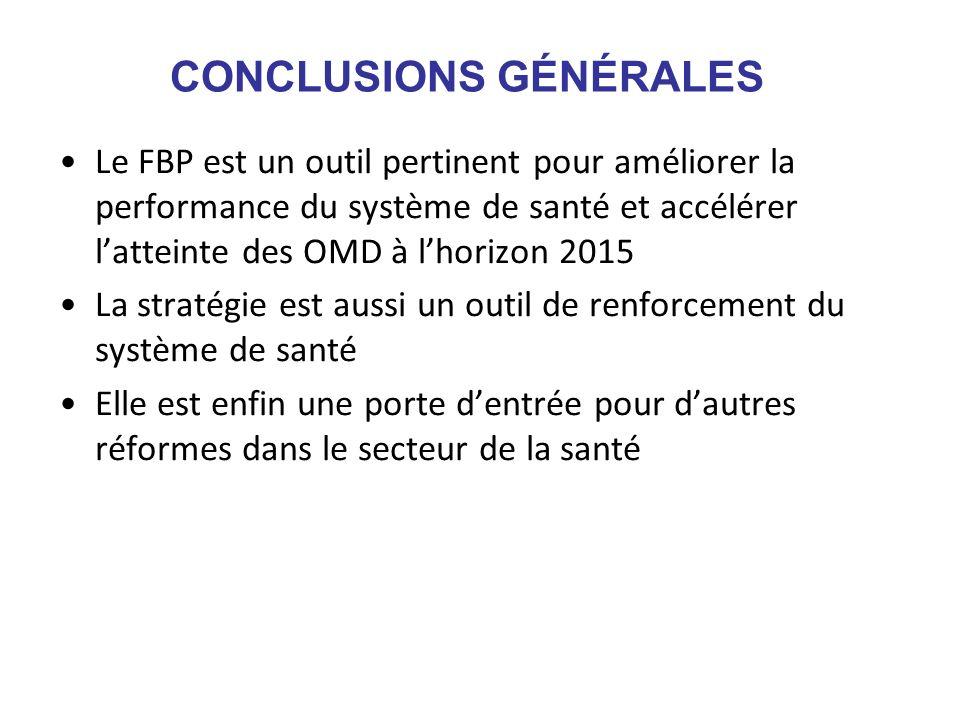 CONCLUSIONS GÉNÉRALES Le FBP est un outil pertinent pour améliorer la performance du système de santé et accélérer latteinte des OMD à lhorizon 2015 L