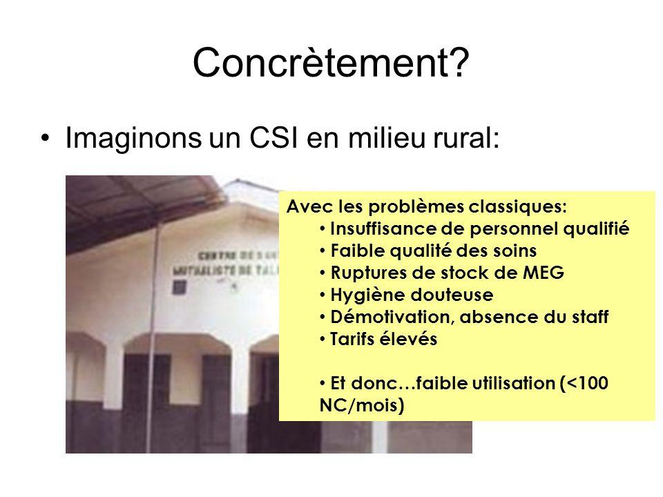Concrètement? Imaginons un CSI en milieu rural: Avec les problèmes classiques: Insuffisance de personnel qualifié Faible qualité des soins Ruptures de