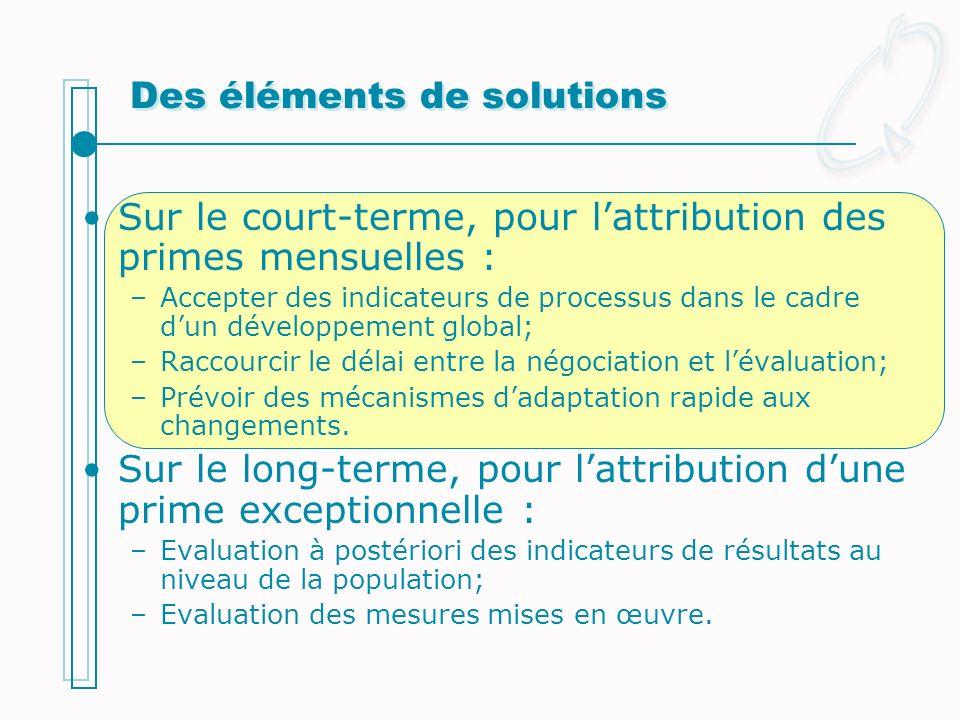 Des éléments de solutions Sur le court-terme, pour lattribution des primes mensuelles : –Accepter des indicateurs de processus dans le cadre dun dével
