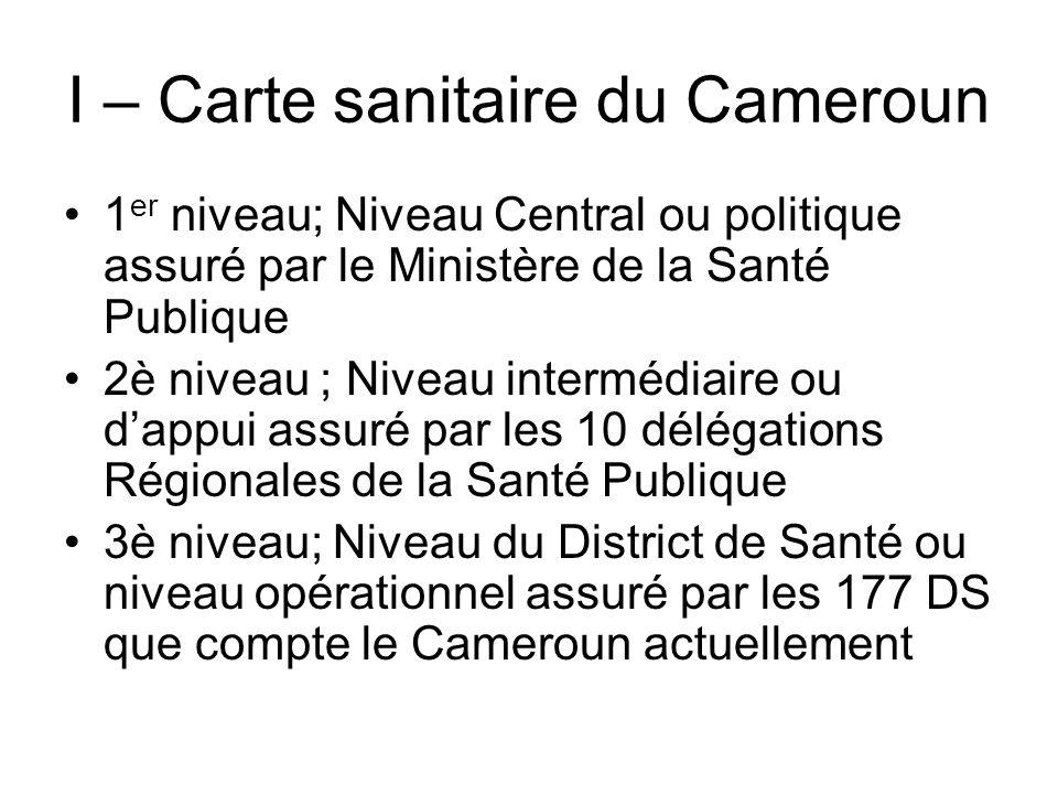 I – Carte sanitaire du Cameroun 1 er niveau; Niveau Central ou politique assuré par le Ministère de la Santé Publique 2è niveau ; Niveau intermédiaire
