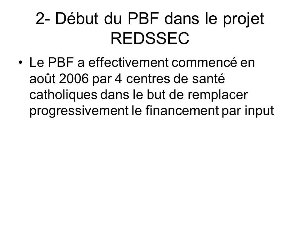 2- Début du PBF dans le projet REDSSEC Le PBF a effectivement commencé en août 2006 par 4 centres de santé catholiques dans le but de remplacer progre