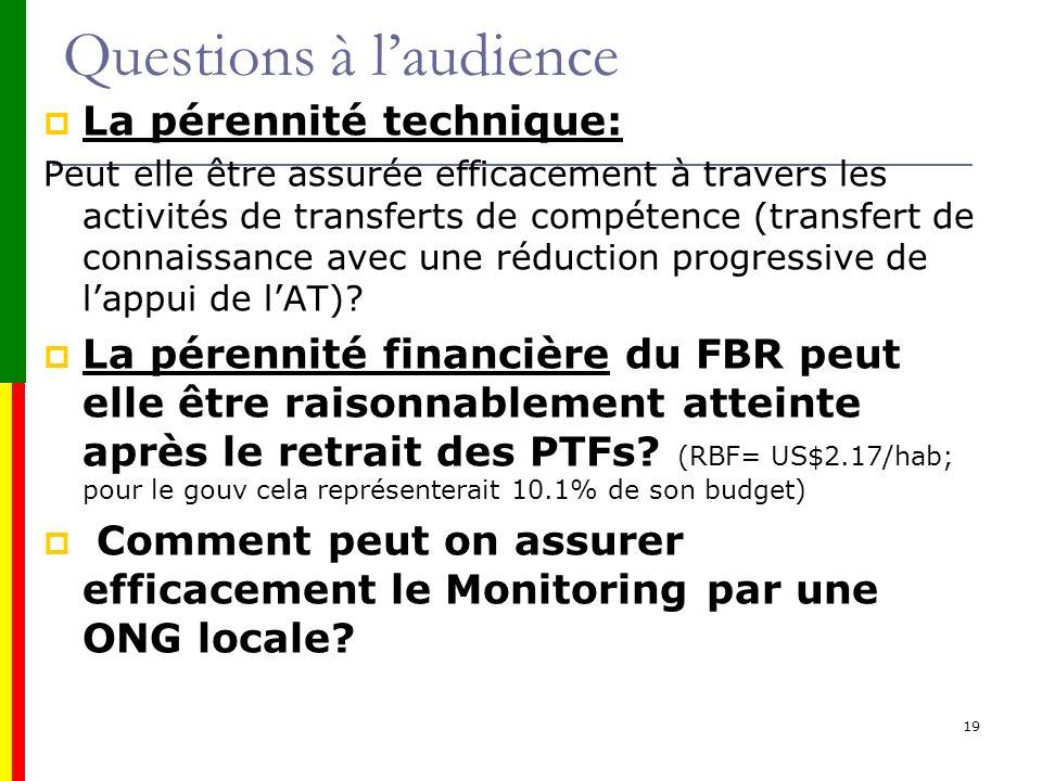 Questions à laudience La pérennité technique: Peut elle être assurée efficacement à travers les activités de transferts de compétence (transfert de co