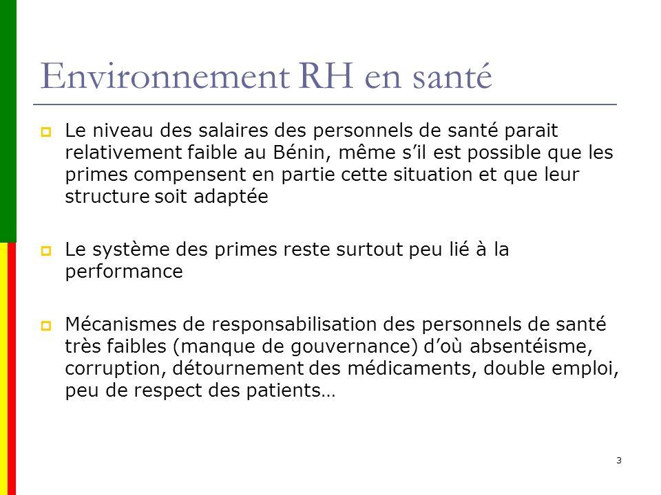 Environnement RH en santé Le niveau des salaires des personnels de santé parait relativement faible au Bénin, même sil est possible que les primes com