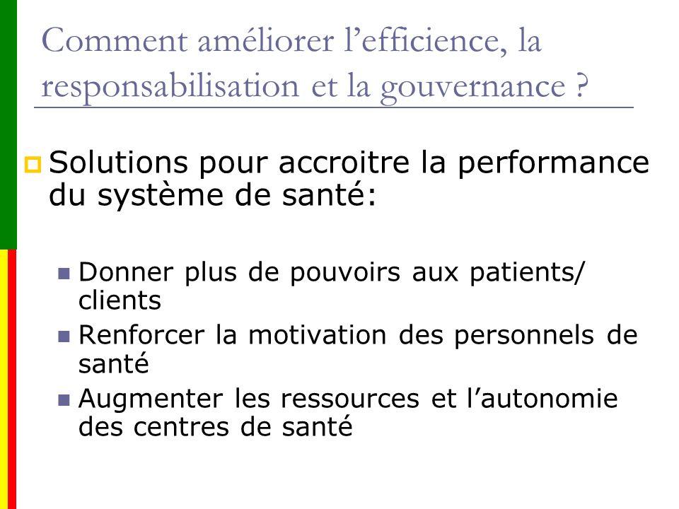 Comment améliorer lefficience, la responsabilisation et la gouvernance ? Solutions pour accroitre la performance du système de santé: Donner plus de p