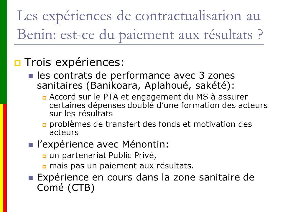 Les expériences de contractualisation au Benin: est-ce du paiement aux résultats ? Trois expériences: les contrats de performance avec 3 zones sanitai