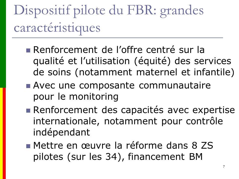 Dispositif pilote du FBR: grandes caractéristiques Renforcement de loffre centré sur la qualité et lutilisation (équité) des services de soins (notamm