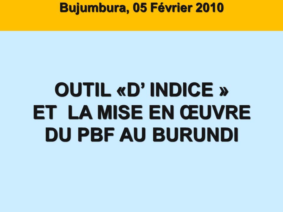 Bujumbura, 05 Février 2010 OUTIL «D INDICE » ET LA MISE EN ŒUVRE DU PBF AU BURUNDI Dr. NKUNZIMANA Canut Dr. NKUNZIMANA Canut Directeur AAP CORDAID A M