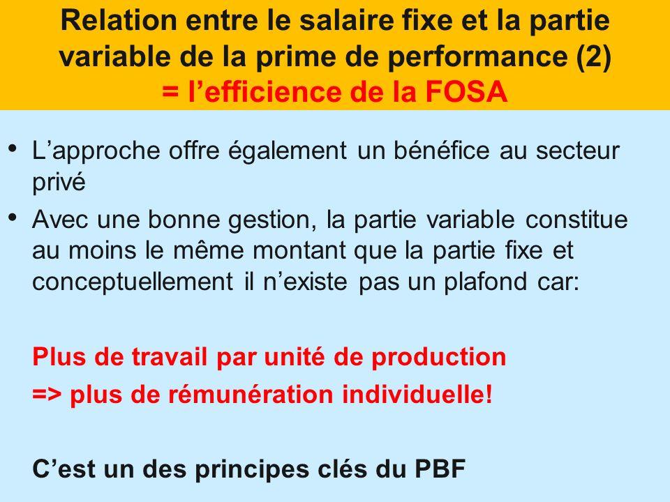 Relation entre le salaire fixe et la partie variable de la prime de performance (2) = lefficience de la FOSA Lapproche offre également un bénéfice au