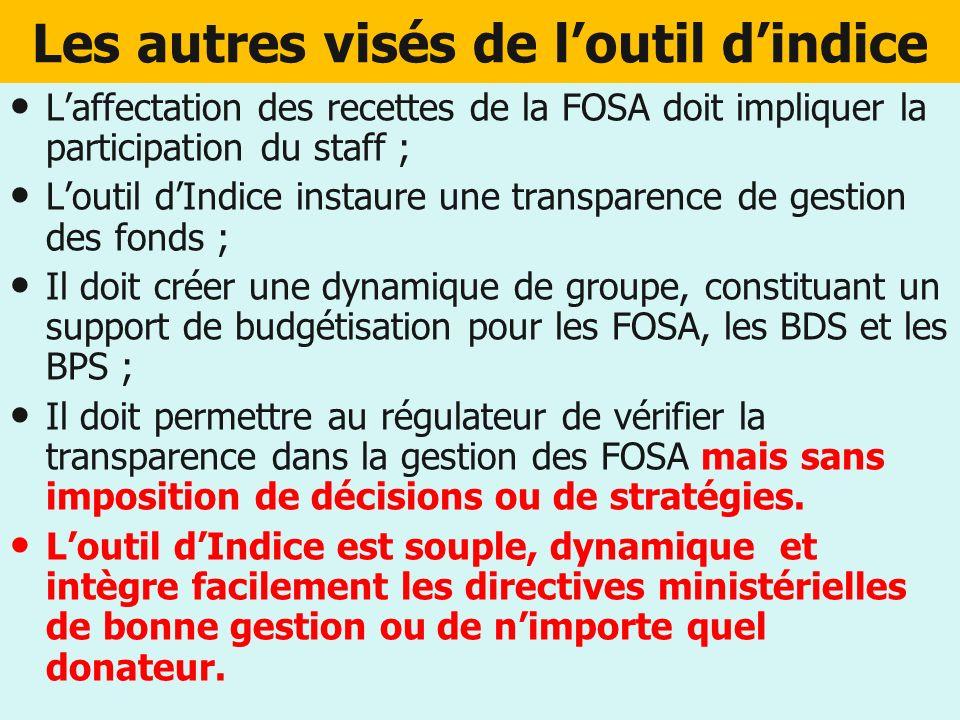 Les autres visés de loutil dindice Laffectation des recettes de la FOSA doit impliquer la participation du staff ; Loutil dIndice instaure une transpa