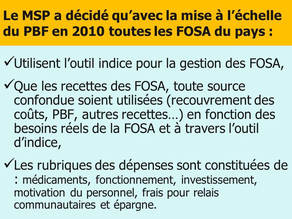 Le MSP a décidé quavec la mise à léchelle du PBF en 2010 toutes les FOSA du pays : Utilisent loutil indice pour la gestion des FOSA, Que les recettes