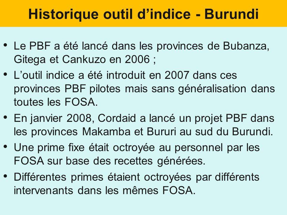 Historique outil dindice - Burundi Le PBF a été lancé dans les provinces de Bubanza, Gitega et Cankuzo en 2006 ; Loutil indice a été introduit en 2007