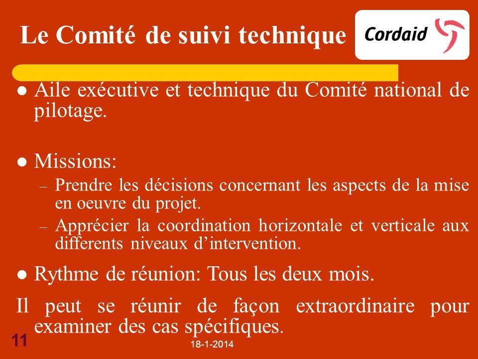 18-1-2014 11 Aile exécutive et technique du Comité national de pilotage. Missions: – Prendre les décisions concernant les aspects de la mise en oeuvre