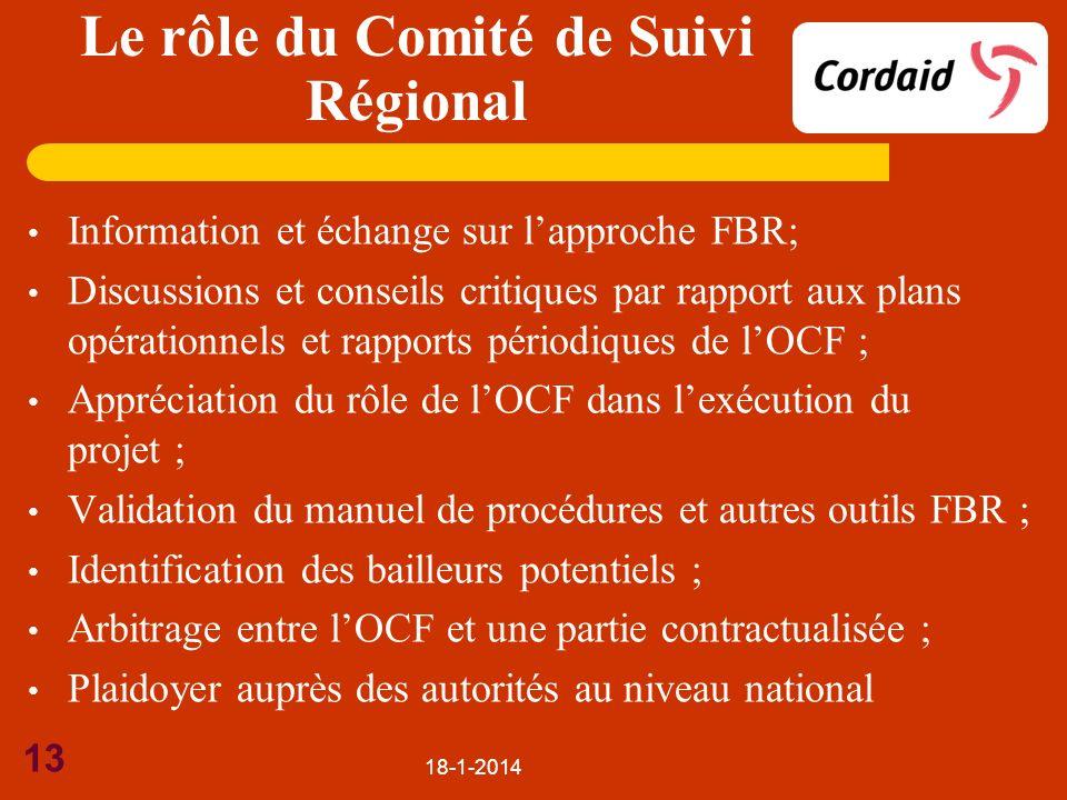 18-1-2014 13 Information et échange sur lapproche FBR; Discussions et conseils critiques par rapport aux plans opérationnels et rapports périodiques d