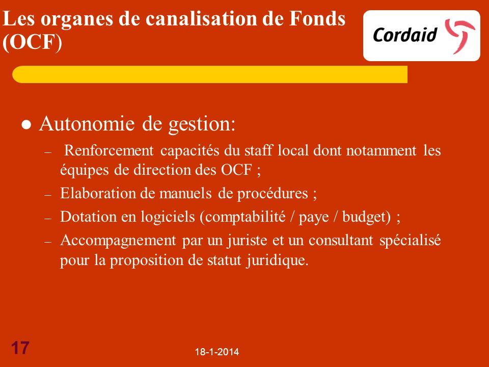Autonomie de gestion: – Renforcement capacités du staff local dont notamment les équipes de direction des OCF ; – Elaboration de manuels de procédures