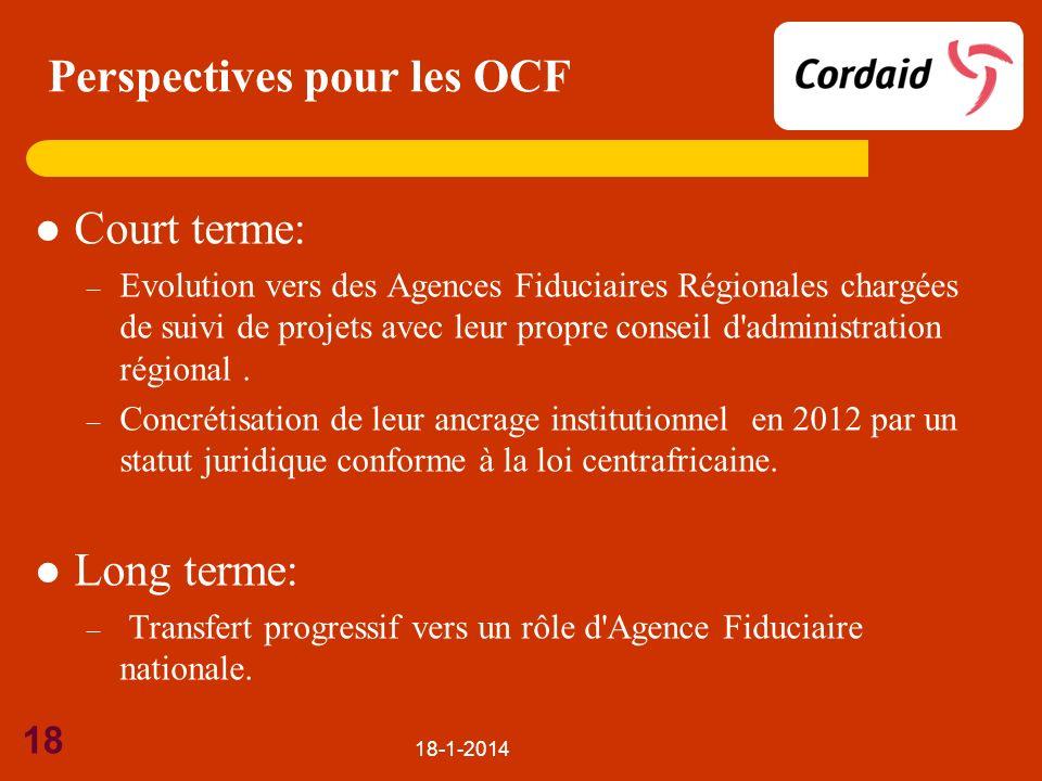 Perspectives pour les OCF Court terme: – Evolution vers des Agences Fiduciaires Régionales chargées de suivi de projets avec leur propre conseil d'adm