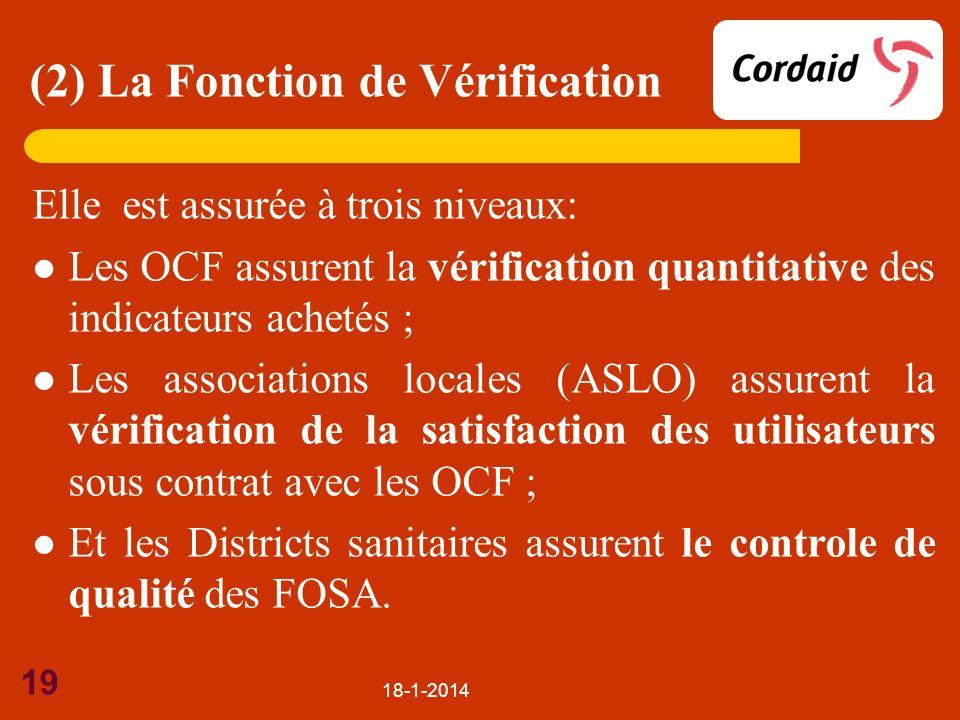 18-1-2014 19 Elle est assurée à trois niveaux: Les OCF assurent la vérification quantitative des indicateurs achetés ; Les associations locales (ASLO)