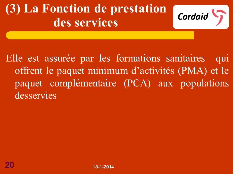 18-1-2014 20 Elle est assurée par les formations sanitaires qui offrent le paquet minimum dactivités (PMA) et le paquet complémentaire (PCA) aux popul
